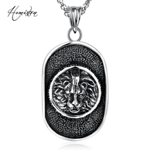 2016 Oval Card with Lion Head Pattern Pendant Necklace, 316L Titanium Steel Punk Necklace for Men, Biker Vintage Jewelry TS N206