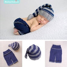 Crochet Baby Clothes Set Hand Knitting Newborn Touca Bebe Sweater Long Tail Hat Pant Sets Infant Sweaters Newborn Prop(China)