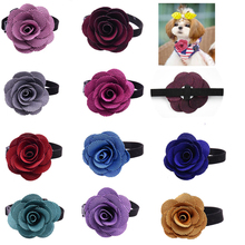 Hight Quality Remove10pcs Pet Puppy Cat Collar Velvet Adjustable Cat Dog Holiday Bowties Fashion Rose Pet Grooming Accessories(China)