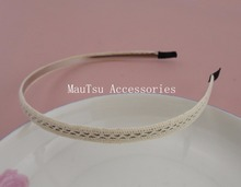 10PCS 9mm off white Filigree Cotton Lace Lined Metal Hair Headbands wire hairbands wholesales diy hair accessoires