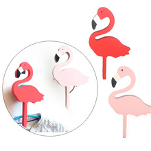 2016 Ins Wooden Kids Room Clothes Hook Wall Decorative Sticker Flamingo / Bat / Cactus / Cross Shape Hanger Hook Home Decoration(China)