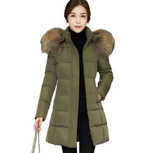 Winter Women Down Cotton Long Coat 2017 New Parkas Hair Collar Hooded Female Warm Thick Jackets Fashion Slim Lady Outerwear Z1(China)