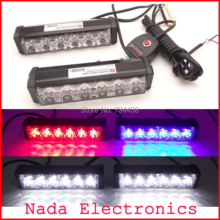 2x6led high power 36watt car grille strobe lights vehicle flash lights led police warning light white red blue 3 colors in one<br>