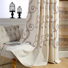 30% Linen curtain fabric with 70% polyester embroidery window curtains made in China