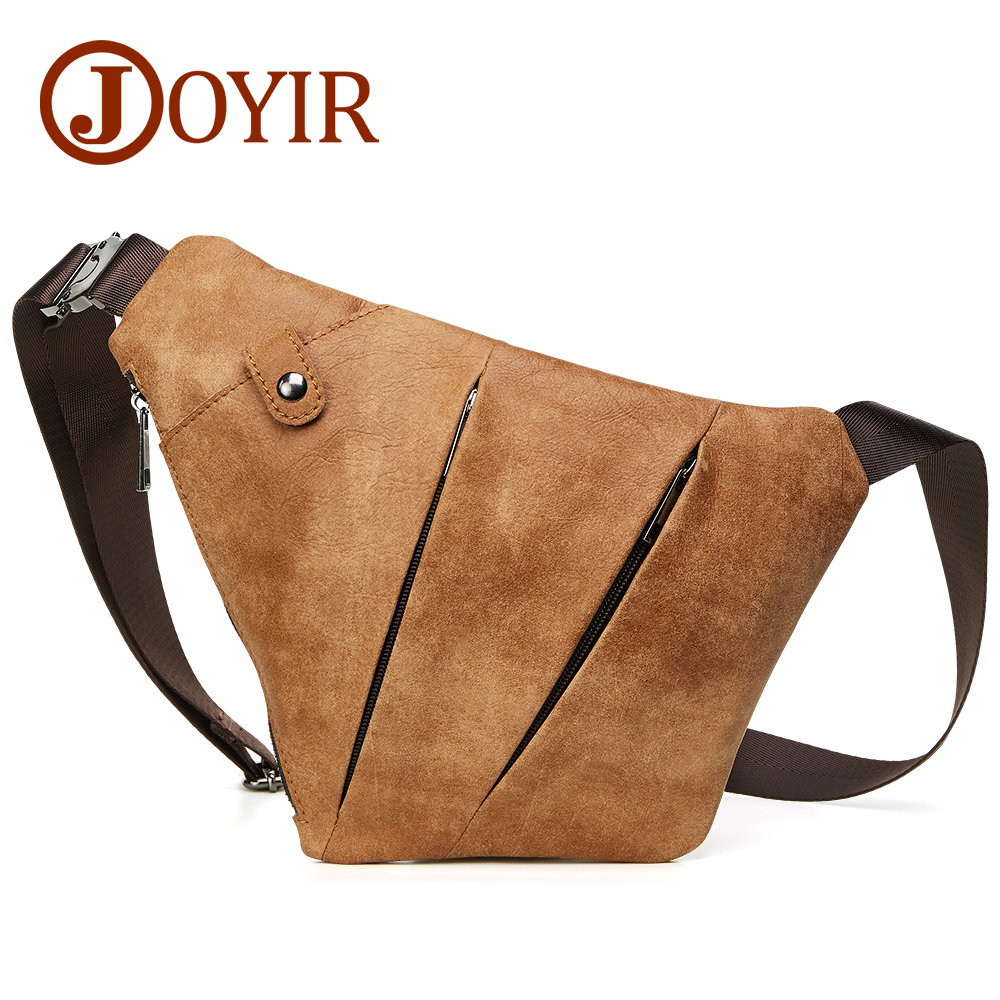 JOYIR Genuine Leather Chest Bag for Men Crossbody Chest Pack Solid Flap Leather Bags Mens Shoulder Bags Small Messenger Bag New<br>