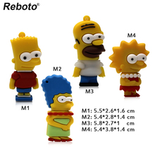 Cartoon Simpson Flash Drive 4g 8g 16g 32g 64g Simpson Bart Homer USB Disk PenDrive USB 2.0 Flash Memory Card Pen Drive(China)