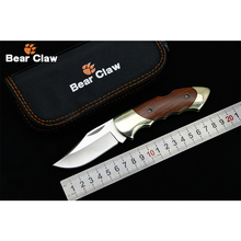 Bear claw CS1705 New Product 8Cr13 blade Brass + wood handle Outdoor folding knife camping hunting pocket fruit knives EDC tool(China)
