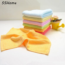 Soft Beach Squares Towels Baby Bath Hand Towel Bamboo Green Yellow Pink Blue 23x23cm Small Bamboo Fiber Towel