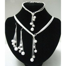 Big Sale Women's Jewelry Polished Finished Bracelets Y-shape Necklaces Drop Earrings Silver Plated Beads African Jewelry Sets(China)