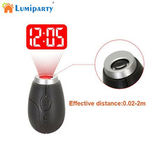 LumiParty Fashion Mini Projection Clock Lamp Keyrings Red Light Keychains Pom Gift