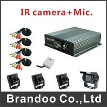4CH mDVR and IR car cameras kit, 3 inside camera with 1 waterproof car camera for truck used, from Brandoo