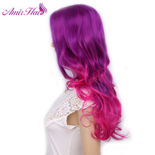 Amir Synthetic Hair long wavy wig Cosplay Wig Purple and Pink Long Ombre Heat Resistant Hall Halloween Day(China)