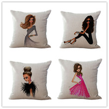 2017 hot high quality Creative Fashionable City Girl Sofa Auto Bed Car Decorative Pillow Case Cushion Cover personality lady(China)
