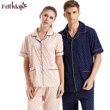 Couple Pajamas Set 100% Cotton Pajamas Pyjamas Spring And Autumn Men And women Sleepwear Lover Night Suits Plus Size M-3XL Q37