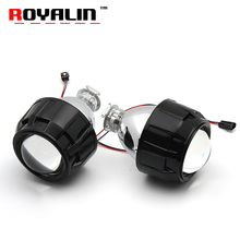 ROYALIN Metal H1 Projector Lens Mini 2.5'' BI-Xenon w/ Mini Gatling Shrouds for Alfa Romeo Ford Focus Opel Astra V.W Yamaha DIY