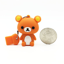 Rilakkuma Bear Cartoon Flash Disk Memory USB USB Flash Drive 128GB 64GB 32GB 16GB 8GB 4GB Pen Drive Pendrive USB Pens Stick(China)