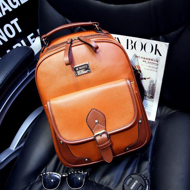 Quality PU leather Backpack Women 2017 Fashion New British retro belt decoration Shoulder bag Girl schoolbag College Female bag<br><br>Aliexpress