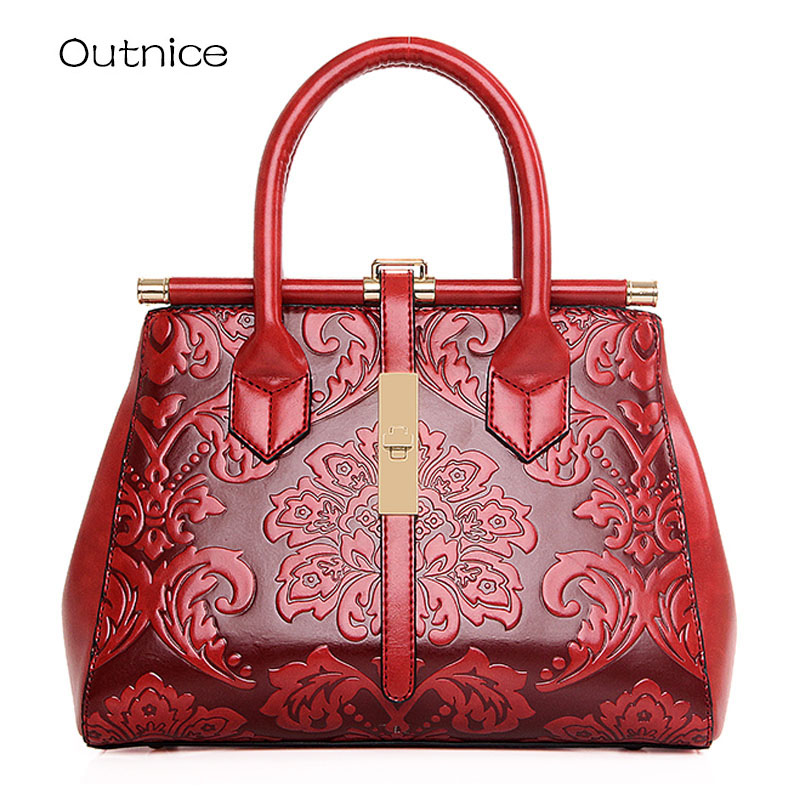 2017 Vintage Embossed Leather Luxury Women Bags Designer Handbags Elunico Ladies Boho Top-handle Shoulder Bags Sac a Main Femme<br>