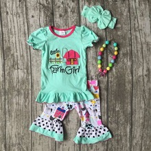 "2017 new arrival Baby girl clothes ""little farm girl"" barnyard kids capri outfits 2-8T boutique clothes with matching accessries"