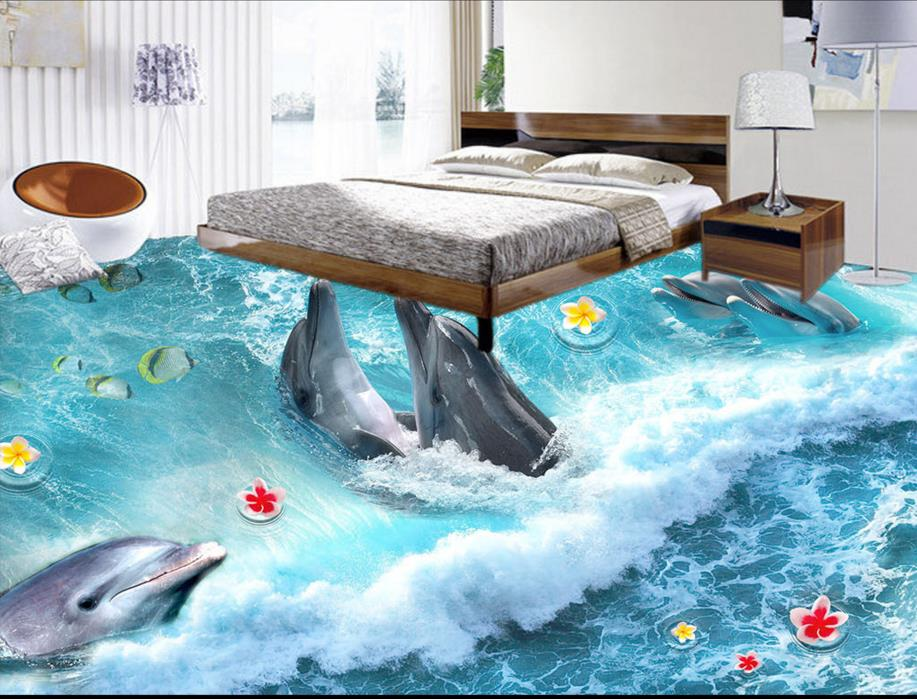 High quality 3d floor murals surf paradise dolphin Wallpaper 3d floor tiles pvc waterproof 3d wallpaper rolls<br>