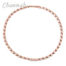 Channah 2017 Ladies Clear Crystals Rose Gold Titanium Women Necklace Germanium Jewelry Bio Energy Elegant Fashion Charm(China)