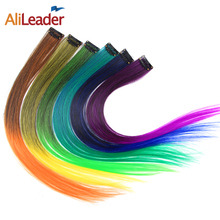 AliLeader Product 20 Colors Ombre Red Blonde Grey Hair Extensions Clip In Pieces Long Straight 50CM 1 Clip On Hairpieces