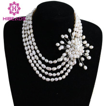 Free Shipping 4 Rows Rice Natural Freshwater Pearls Necklace with Pearls Flower Pendant Wedding Necklace FP238