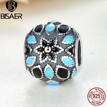 Buy BISAER 925 Sterling Silver Floral Silver 3 Shades Blue Enamel Beads Charms Fit Pandora Charm Bracelet Sterling Silver Jewelry for $6.19 in AliExpress store