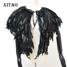 2016 new winter fur coat short paragraph feather vest waistcoat vest shawl high-grade natural feathers ,WPA-002