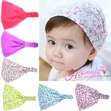 Retail Print Fabric Flower Headband For Kids Girls Elastic Wide Turban Hairband Head Wrap Hair Accessories