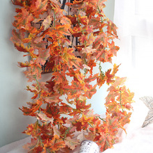 1Pc 180cm Long Red Artificial Maple Leaves Silk Artificial Plants Rattan Vine Real Touch Artificial Hanging Plants For Garden(China)