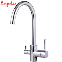 Bagnolux High Quality Solid Brass Granite Kitchen Faucet Osmosis Silver Chrome Tri Flow Sink Mixer Chrome 3 Way Water Filter Tap(China)