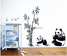 New Black large size 100*90CM Panda Bamboo Wall Stickers Living Room TV Wall Sofa Removable Home Sticker Wall Sticker Art AY9051
