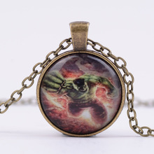 Movie Jewelry The Avengers Hulk Glass Time Synthetic Gemstone Necklace Vintage Glass Cabochon Pendant Necklace G110