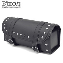 BJMOTO Motorcycle Saddlebag Side Bag PU Leather Tool Bag Black Motorbike Saddle Bag for Harley Pannier side saddle Bag BAG-012(China)