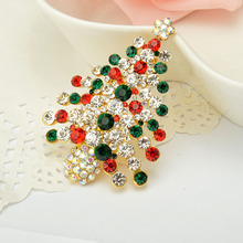 2016 New European and American Fashion CZ Diamond Brooch Color Clothing Green Christmas Tree Brooch Pins Wholesale Fine Jewelry