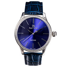 Royal Crown Men's Homme Wrist Watch Quartz Hours Best Fashion Dress Bracelet Stainless Steel Luxury Rhinestones Bling CZ 6118