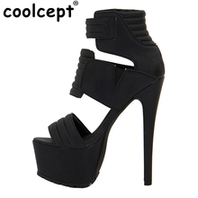 Coolcept Stiletto Shoes Women High Heel Sexy Sandals Thin Heel Platform Brand Vintage Sandalen Shoes Footwear Size 35-46 B004(China)