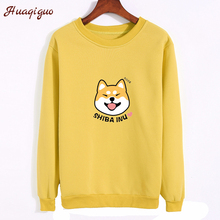 2017 Women Sweatshirt Autumn Lovely Anime Character Shiba Printed Hoodies Thickening Fleece Harajuku Winter Pullover(China)