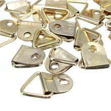 Wholesale 10pcs D Rings Decor Picture Frames Hanger Hooks Universal Strong Golden Hanging Screws Helper MS327(China)