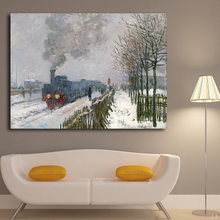 Wall Art Train In Snow Pictures By Monet Canvas Painting Cuadros Decoration Modern Wall Pictures For Living Room No Frame