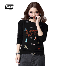 Autumn women sweater fashion long sleeve loose O-neck christmas cartoon embroidery knitted pullover tops elegant ladies sweaters