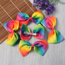 Random Color!! 2PC Children Hair Clips Bowknot Hairpins Barrettes Floral Colorful Grosgrain Ribbon Rainbow Hair Accessories