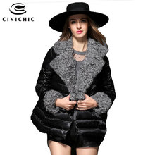 CIVICHIC Top Grade Woman Winter Faux Wool Lapel Parka Fur Stitching Sleeve Down Jacket Soft Warm Coat Eiderdown Outer Wear DC569