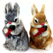 16cm Cute Animal Bunny Simulation Furry Squatting Rabbit Christmas Day Birthday Gift Home Wedding Decoration Craft Kids Toy