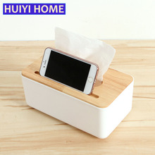 Huiyi Home Wooden Tissue Box Creative Desktop Napkin Storage Box With Phone Holder EKE054(China)