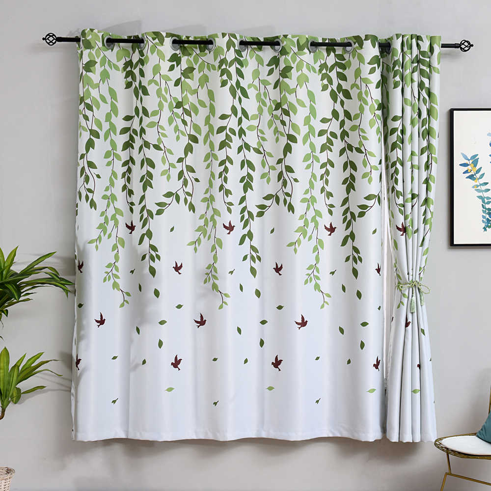 Bird Leave Printed Curtains For Short Window Kitchen Mini Countryside Rural Kitchen Tie Valance Mini Window Drapes PC026B