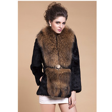 ZY81040 2017 New Arrival Autumn And Winter Female Real Rabbit Fur With Big Raccoon Fur  Collar Fur Short Coat Jacket