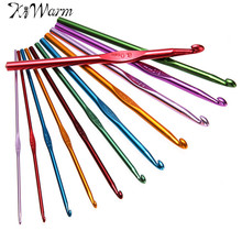 KiWarm Practical 12pcs/set Multicolor Different Size Aluminium Crochet Needles Set Knitting Sewing Craft Hooks Set Weave Craft(China)