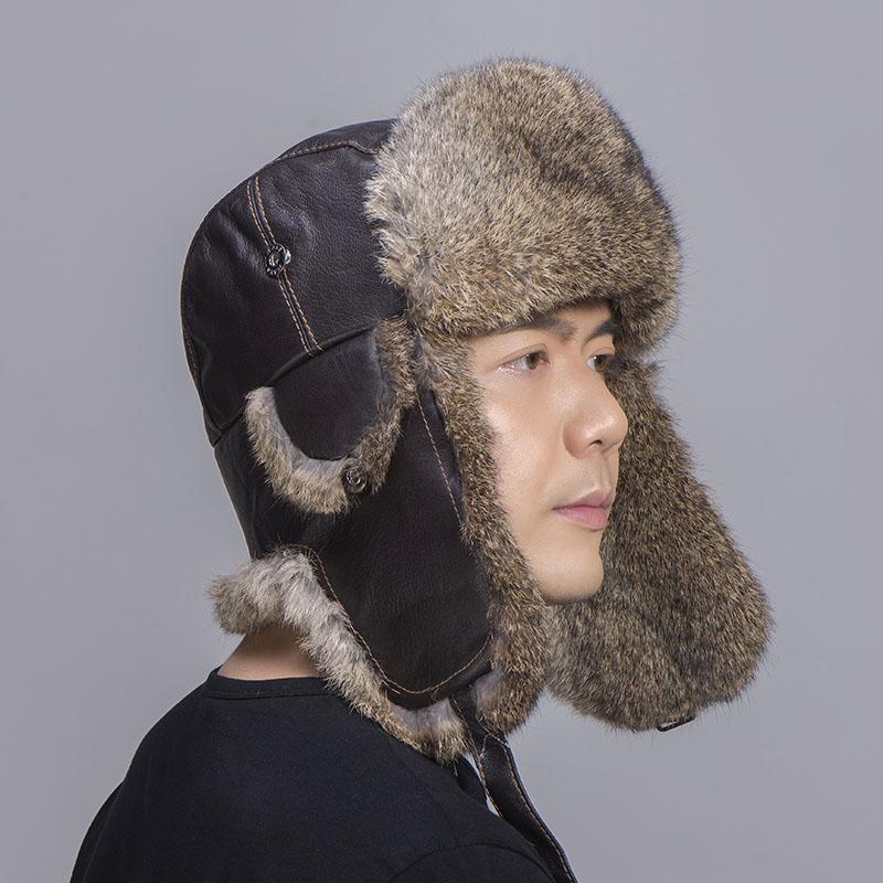 brown rabbit fur sheepskin hat 3